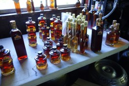Depending on the time of harvesting in spring, the extracted maple syrup batches change color - the later in the year, the darker