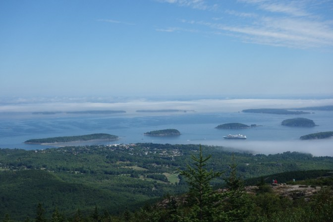 The fog is clearing! The island on the left is Bar Island - at low tide, it is possible to walk there from Bar Harbor, over the sandbar