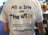 Our new Wirie shirts. Too bad I put a brand new red sweater with them in the wash after the show. Now, all our shirts are pink... :-(