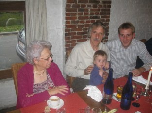 Oma's 90th birthday party and the last time the whole family was together - here with my dad, brother and niece Lena