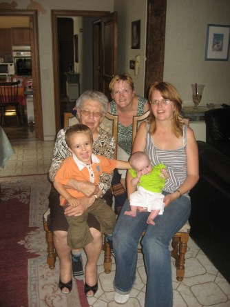 Family photo in 2008, of my niece Sofie, her two children Seyno and Syana, oma and Sofie's mom, Monique, who would sadly pass away three years later