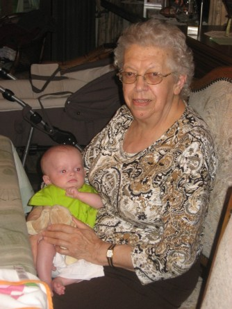 Oma and her youngest - at the time - great grandchild Syana