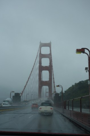 Rainy day to pick up our guests in the city - wet drive over the Golden Gate Bridge