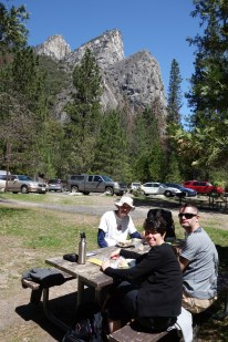 Lunch under the Three Brothers near El Capitan