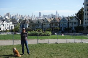 "Part of Alamo Square is opened up for tourists to take photos of the SF skyline and the ""Painted Ladies"""