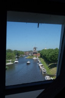 View of one windmill from inside the other