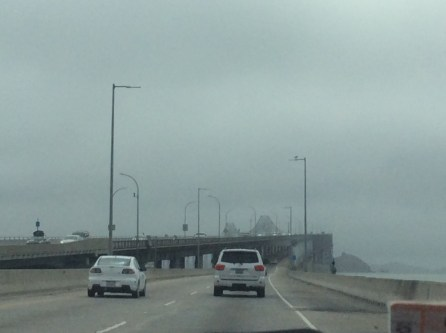 Foggy drive over the Richmond Bridge in the Bay Area
