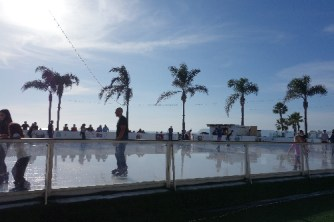 Ice rink between the hotel and the beach