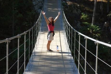 Rachel on the suspension bridge on the Train Wreck Trail