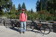 Taking the bikes into Washington Park and its famous rose garden