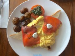 Smoked Salmon Egg and Toast with Baby Potatoes and Tomato.