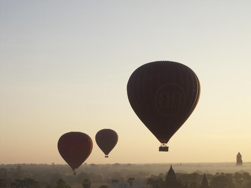 Hot Air Balloon overlooking the 2200 temples and pagodas at Bagan every morning.