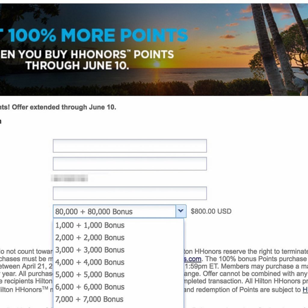 USD$20 for 2000 HHonors Points