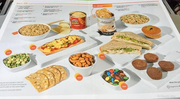 Jetstar 3K 533 Budget Airline Food menu