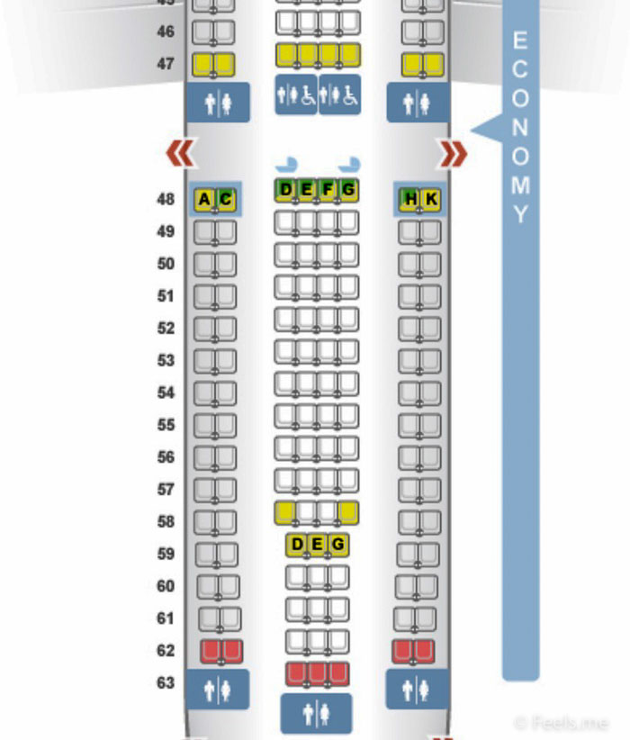 SQ SIN CAN Economy Class Seat Map