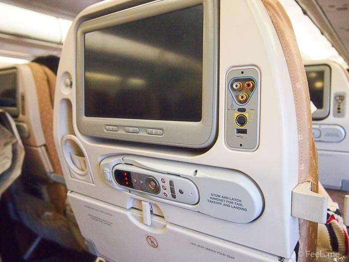 SQ SIN CAN Economy Class Entertainment Systen & USB