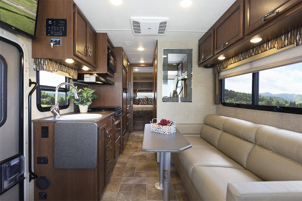 rear kitchen travel trailer vintage accessories thor 2016 axis ruv class a motorhome   roaming times