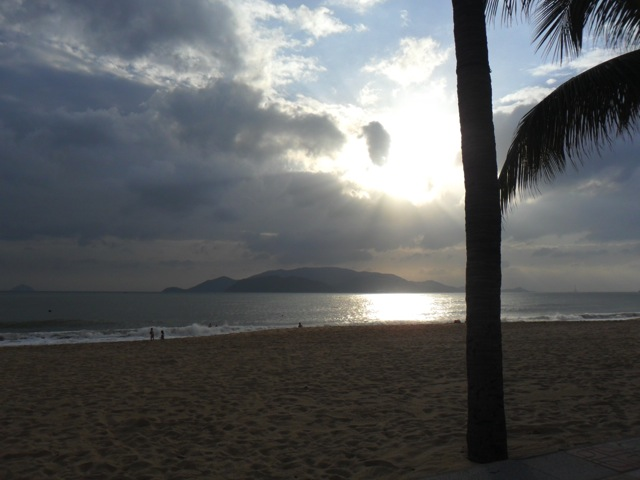 Sunrise at Nha Trang beach in Vietnam.