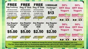 Coupon Card for Subway and SweetFrog