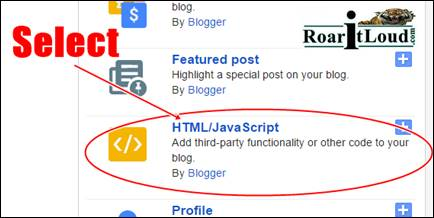 "Select ""HTML/JavaScript"" Gadget blogger Gadget to show gadget on mobile view Step 2"