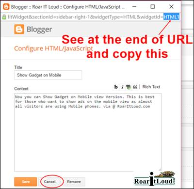 Copy the HTML to show gadget on mobile view version Step 5