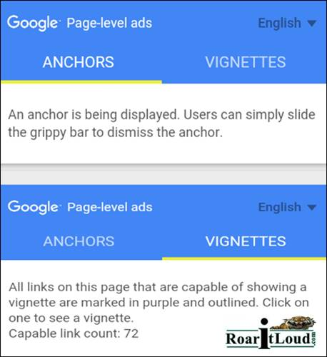 Testing AdSense Anchor Vignette ads for blogspot users in mobile
