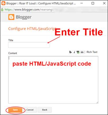 display show Blogger gadget write or paste HTMLJavaScript code Step 3
