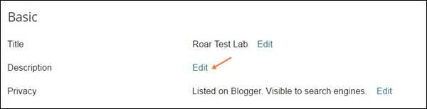 Edit description and change title on blogger