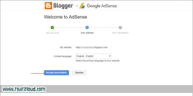 Accept Associate to apply for adsense select content language