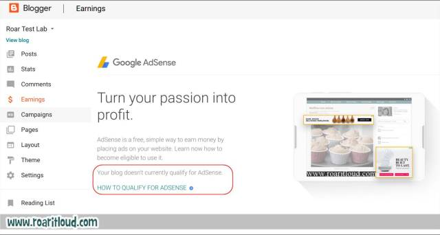 Qualify for Google AdSense to apply for Adsense