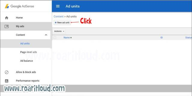 create Ad Unit from AdSense and paste the copied code in blogger