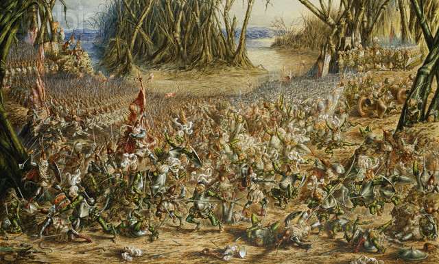 ca. 1881 --- The Batrachomyomachia: The Battle Between the Frogs and the Mice by Henry Barnabus Bright --- Image by © Christie's Images/CORBIS