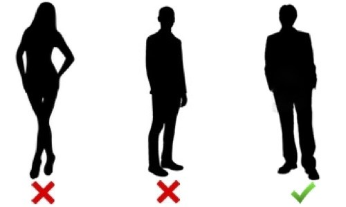 Image of 3 people standing, one with crossed legs, one feet parallel to each other shoulder width apart, last - which is the preferred stance - they are standing with one leg slightly behind the other and turned out a bit. This is described in more detail in the podcast.