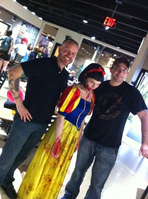 From left to right: Me, Zombie Snow White, and fellow horror writer Kerry G.S. Lipp.