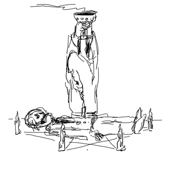 sketch of a corpse being reanimated