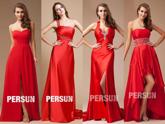 Robes de soirée rouges longues pour fête de fin de l'année