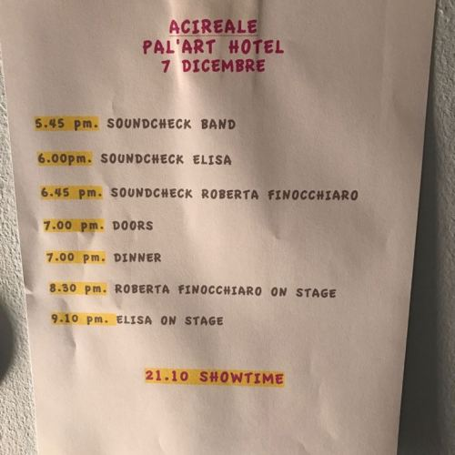 Concerto ELISA - tappa Acireale - scaletta