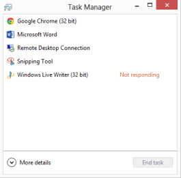 Task Manager in Windows 8 (less details  view)