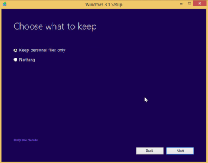 Win 8.1 Choose What to Keep