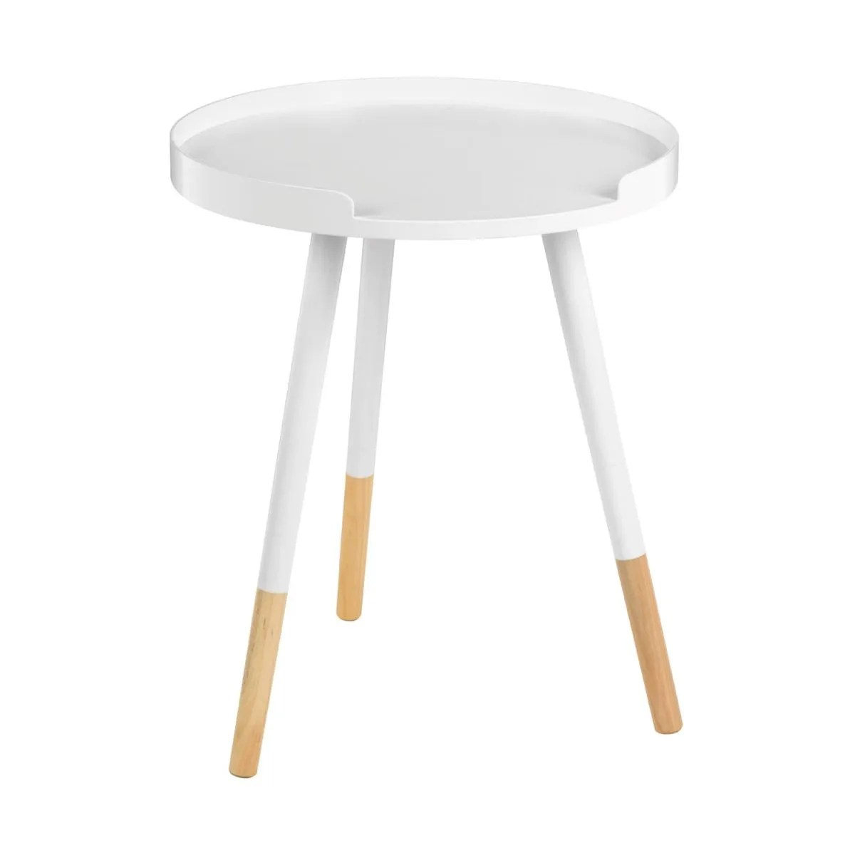 viborg round side table with lip white