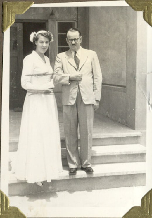 Harold Jolly and Maureen Jolly just before Robert E Hill wedding 1951