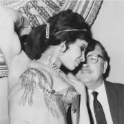 Robert E Hill with belly dancer in Lebanon in 1962 aged 45