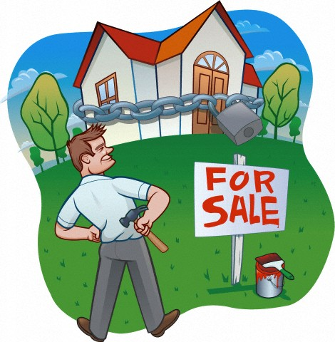 Illustration of a man who has put up a for sale sign in front of a house