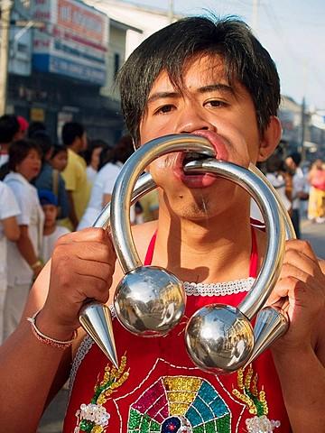 Bizarre Vegetarian Festival, Phuket, Thailand