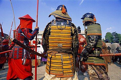 Japan, Tokyo, Men Dressed in Samurai Costume at Jidai Matsuri Festival held Annually in November at Sensoji Temple Asakusa