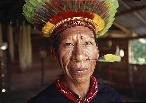 Indigenous people, ecuador. Huaorani tribe in the amazon rainforest. Their territory is land-titled but as the ground below is owned by the ecuadorian government, their territory is heavily invaded by national and international oil companies .An old huaora