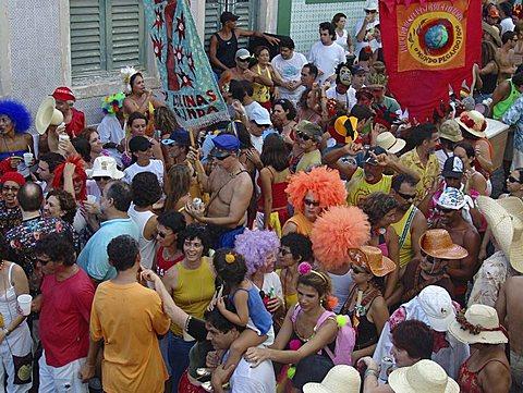 Carnival, brazil. Crowd of revellers in the street during carnival of olinda, pernambuco