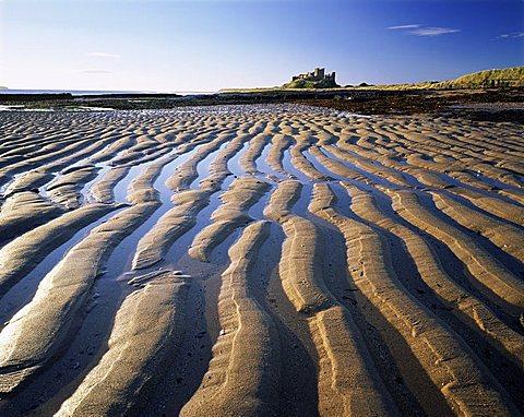 Bamburgh castle and Bamburgh beach, Bamburgh, Northumberland, England, United Kingdom, Europe