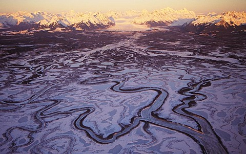 Alaska, Aerial of Chugach Mountains and Copper River Delta.