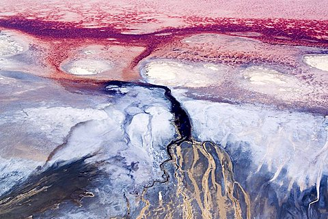 This is a colorful river delta in saline Lake Natron, Rift Valley, Africa, Tanzania, Rift Valley, Lake Natron